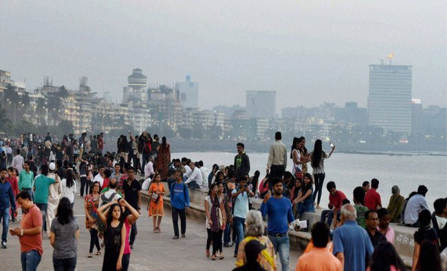 People gathered at the marine drive on the eve of new year in Mumbai...