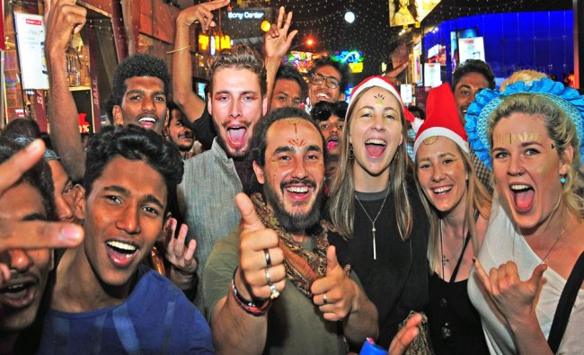 Foreigners are celebrating new year at Brigade road in Bengaluru...