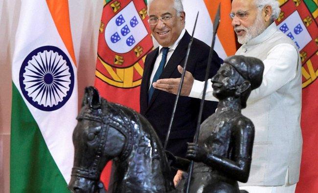 Prime Minister Narendra Modi with his Portugals counterpart Antonio Costa ahead of a meeting...