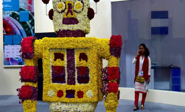 A robot made of flowers on display at \'Youth Pravasi Bharatiya Divas 2017\' in Bangalore...