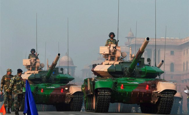 Indian Army\'s mighty tanks move at Rajpath during a rehearsal for the Republic Day parade...