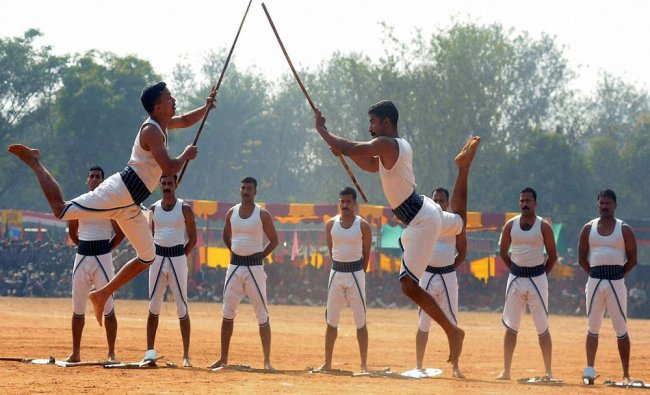 Army personnel perform martial arts during a \'Know Your Force\' mela at Morhabadi ground...