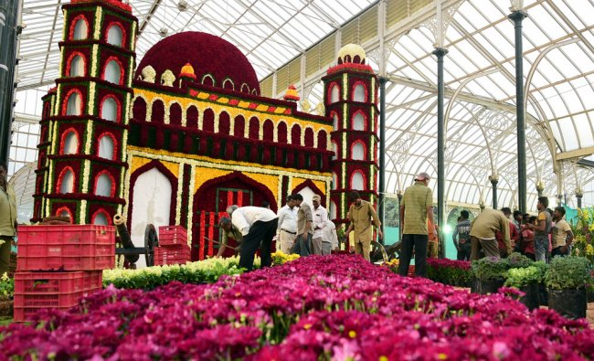 The final touch work is going in full swing at as part of the Republic Day Flower show at Glass...