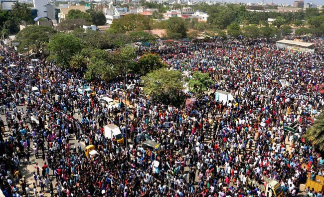 75,000 people gather for a mass protest to support Jallikattu in Coimbatore...
