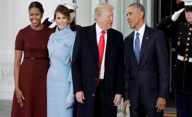 President Barack Obama and first lady Michelle Obama pose with President-elect Donald Trump...