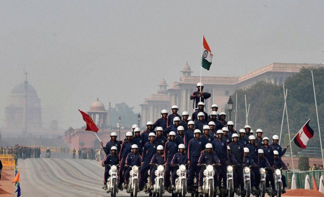 Military Police Daredevils perform during a rehearsal for the Republic Day parade at Rajpath...