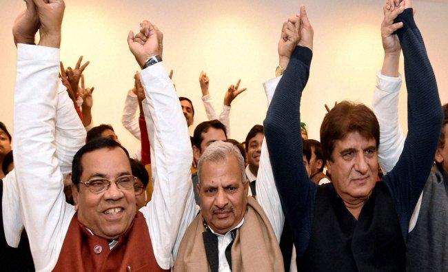 Samajwadi Party Vice president Kiranmoy Nanda, SP state president Naresh Utam and Congress state...