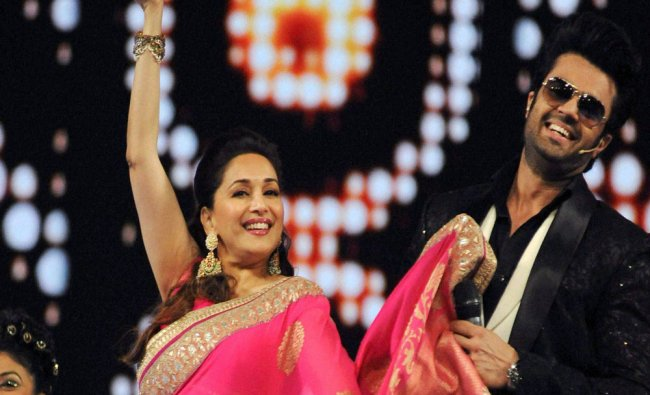 Bollywood actors Madhuri Dixit and Manish Paul atteded the Umang Mumbai Police Show 2017 in...