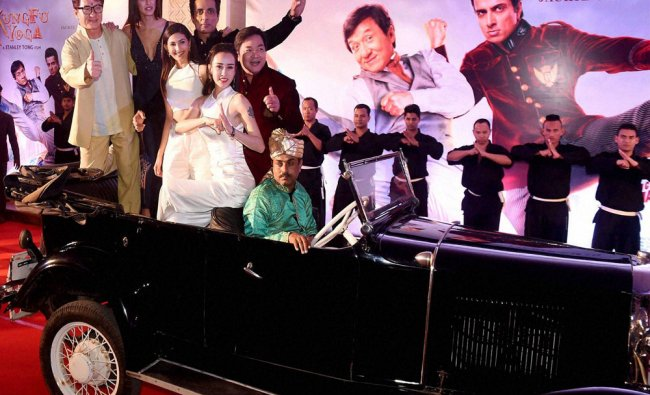 Actors Jackie Chan and Sonu Sood along with the other starcast during a promotional event...