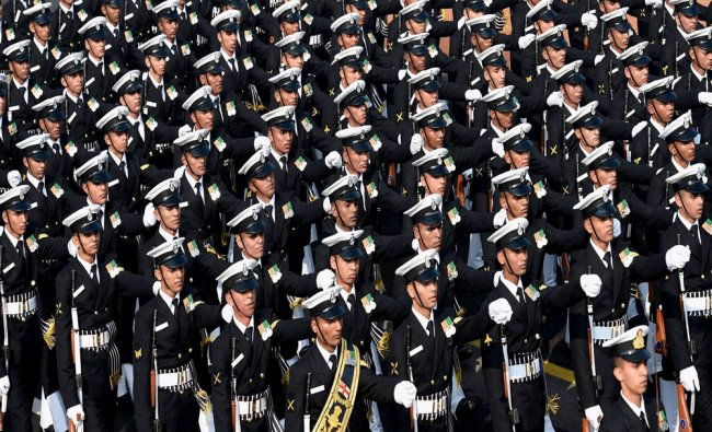 The contingent of Indian Navy marching past during the full dress rehearsal for the Republic Day...