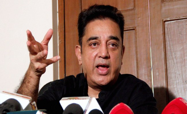 Tamil film actor Kamal Haasan expressing his support to the student for Jallikattu during a press...