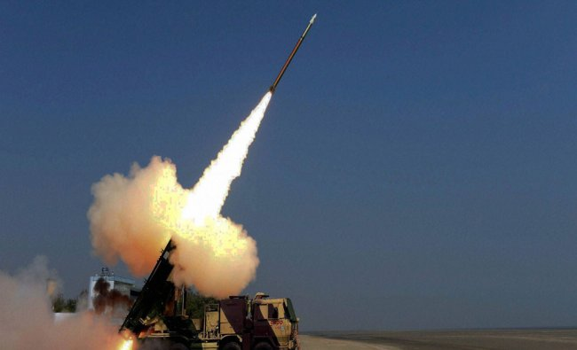 The guided Pinaka rocket is successfully test-fired for the second time from launch complex-III...