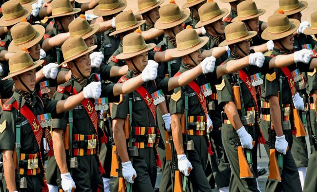 Army personnels participate in full dress rehearsal for Republic day parade at Indira Gandhi...