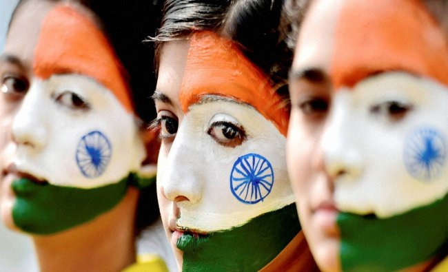 Students take part in an event to mark Republic Day celebrations in Chennai on Wednesday...