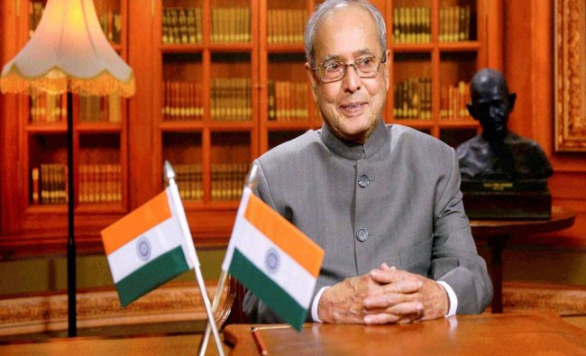 President Pranab Mukherjee addressing the nation on the eve of 68th Republic Day at Rashtrapati...