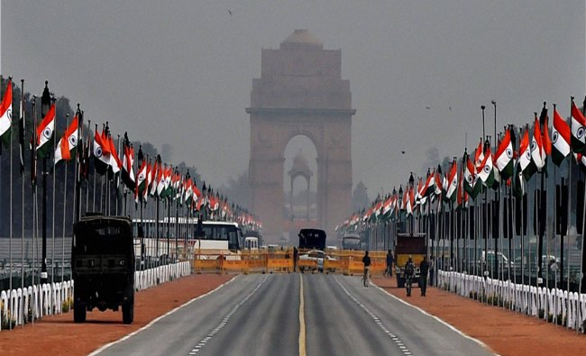 A view of Rajpath decked up for Republic Day Parade in New Delhi...