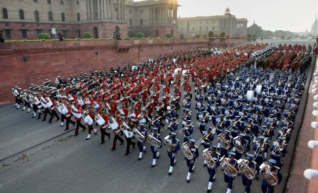 Tri-services bands participate in full dress rehearsal for the Beating Retreat ceremony...