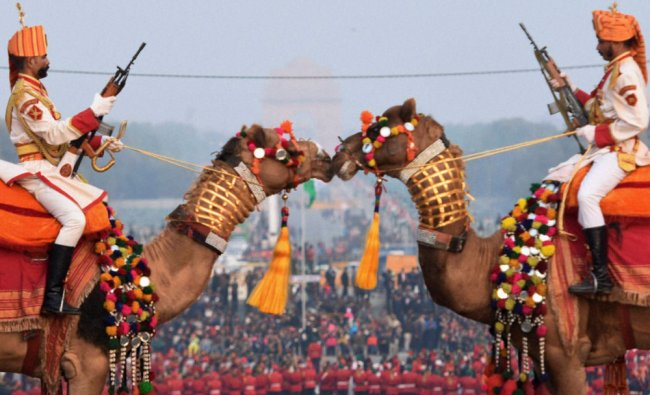 BSF soldiers mounted on camels participate in full dress rehearsal for the Beating Retreat...