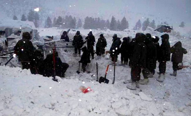 Army soldiers at rescue work in Gurez sector where an incident of severe avalanche took place...