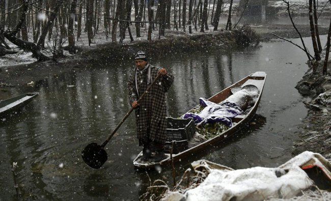 A man carrying vegetables in his boat at Dal Lake during light snowfall in Srinagar...