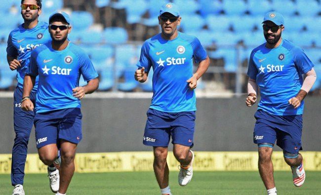 Indian players during the practice session ahead of the T20 match played against England...