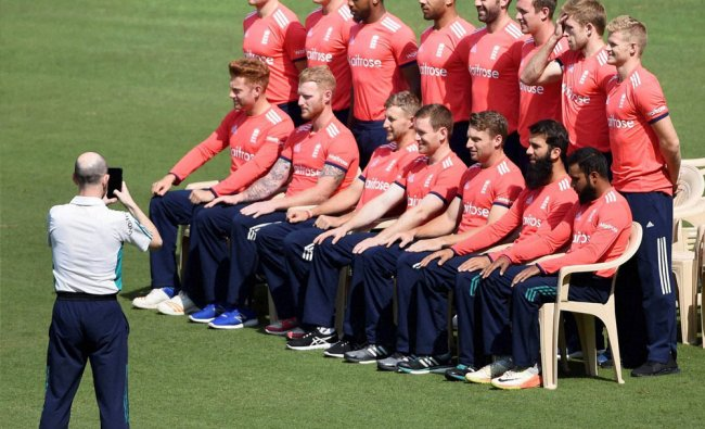 England team players pose for a group photo at VCA Stadium in Nagpur on Saturday...