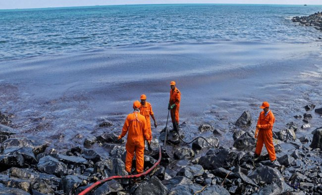 Members of the Pollution Response Team removing black oil washed...