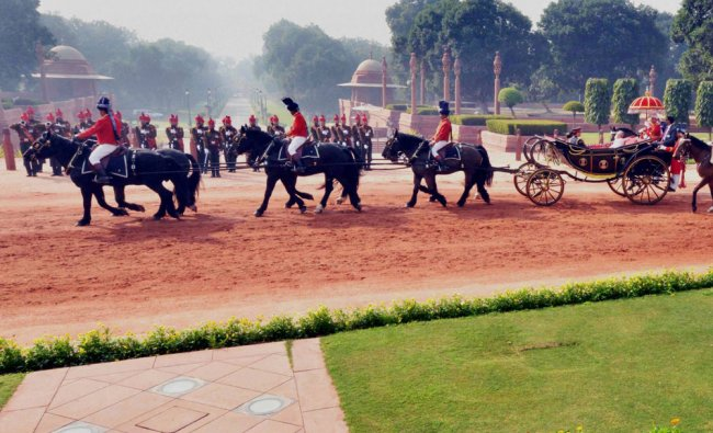 President Pranab Mukherjee during the ceremonial procession ahead of his address to joint session...