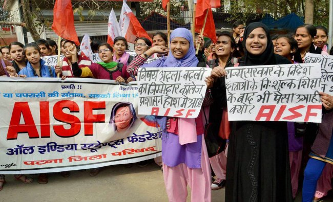 Student of Arvind Mahila College demonstration on various issue in Patna on Tuesday...
