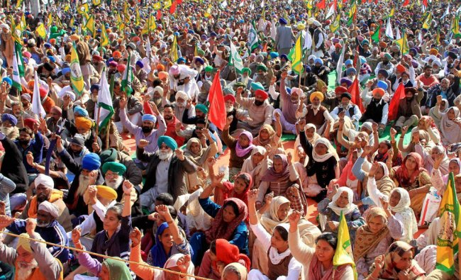 Farmers staging a protest in Bathinda on Tuesday ahead of Punjab assembly elections...