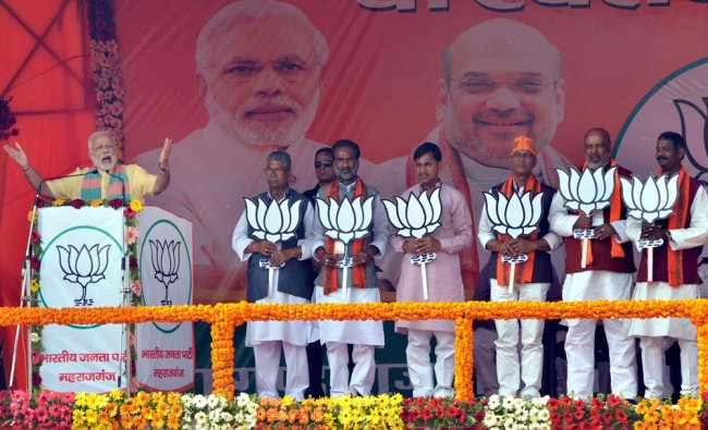 Prime Minister Narendra Modi addresses an election campaign rally in favour of BJP candidates in ...