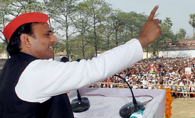 Uttar Pradesh Chief Minister Akhilesh Yadav addresses an election rally in Deoria district on ...