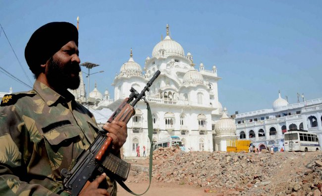 Tight security at out-side Takht Harmadir Sahib (Gurudawara) increased after bomb explosion threat..