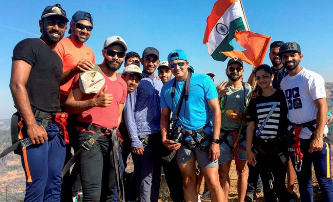 Team India players during trekking in the surrounding areas of Pune to rejuvenate after Australia ..