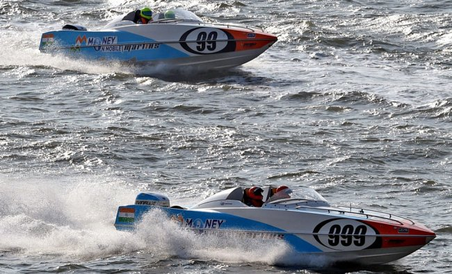 Boats practising at Marine Drive in Mumbai on Thursday ahead of Powerboat racing which scheduled...