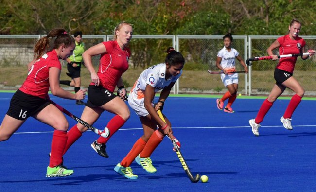 Indian and Belarus women hockey players during 1st test match at SAI centre in Bhopal...