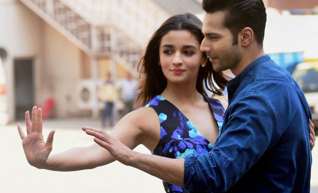 Bollywood actress Alia Bhatt and actor Varun Dhawan during the promotion of the movie...