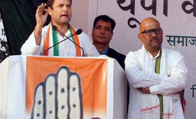 Congress Vice President Rahul Gandhi addresses an election rally in favour of party candidate...