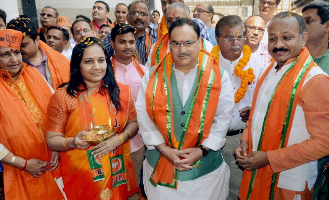Union Health Minister and senior BJP leader J P Nadda along with UP party president...
