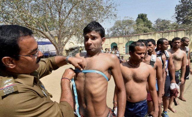 Police aspirants undergoing physical examination at a recruitment of the Bihar police in Patna...