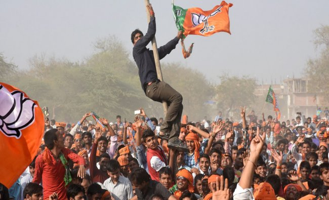 BJP supporters during Prime Minister Narendra Modi\'s an election campaign rally in support...