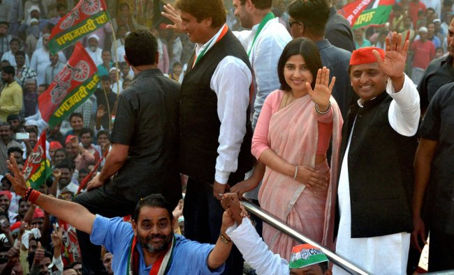 Congress Vice President Rahul Gandhi, UP Chief Minister Akhilesh Yadav and his wife Dimple...