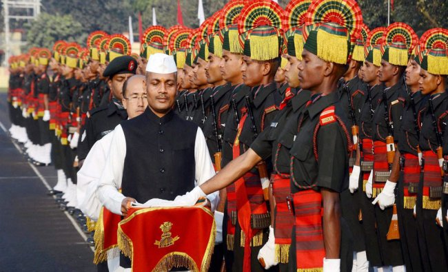 Soldiers of Bihar Regimental Center taking oath during the Attestation Parade at Danapur...