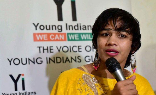 Indian wrestler Babita Phogat addresses media in Bhopal...