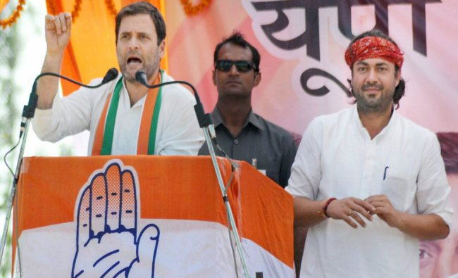 Congress Vice President Rahul Gandhi addressing an election rally for the last phase...