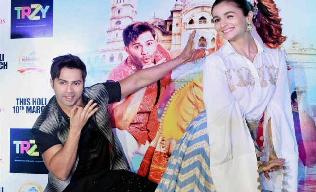 Actress Alia Bhatt and Actor Varun Dhawan during the promotion of their upcoming movie ...