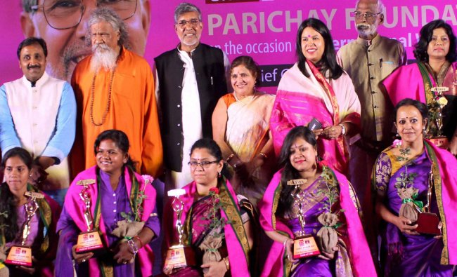 Nobel Prize winner and child rights activist Kailash Satyarthi at a felicitation function for women