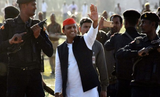 Uttar Pradesh Chief Minister and SP leader Akhilesh Yadav at an election rally in Jaunpur on ...