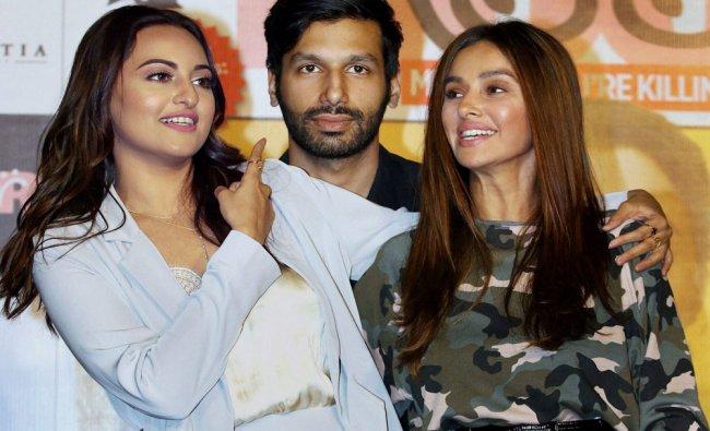 Bollywood actors Shibani Dandekar, Kanan Gill and Sonakshi Sinha during the trailer launch...