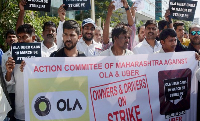 Ola and Uber drivers during a protest rally in Mumbai ...